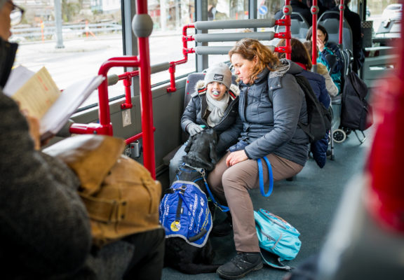 Autism service dog, child and mother out and about in the tram