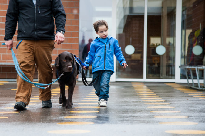 Father, autism service dog and son