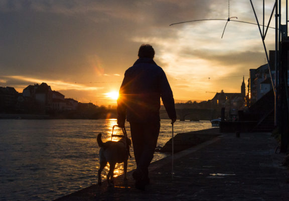 Guide dog team walking at sunset along the banks of the Rhine in Basel